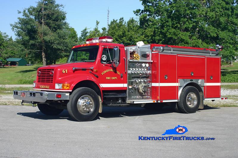 <center> Fordsville  Engine 61 <br> 2001 International 4900/E-One 1250/1000 <br> Kent Parrish photo </center>