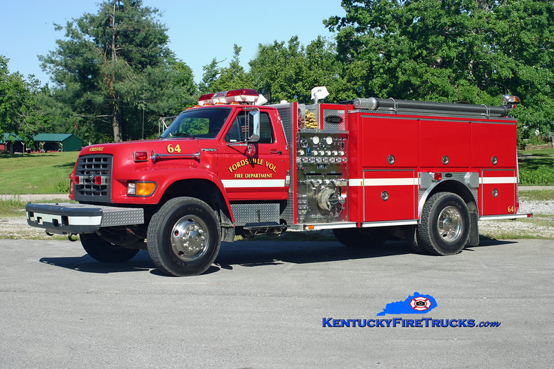 <center> Fordsville  Engine 64 <br> 1997 Ford F-750/E-One 1250/1000 <br> Kent Parrish photo </center>