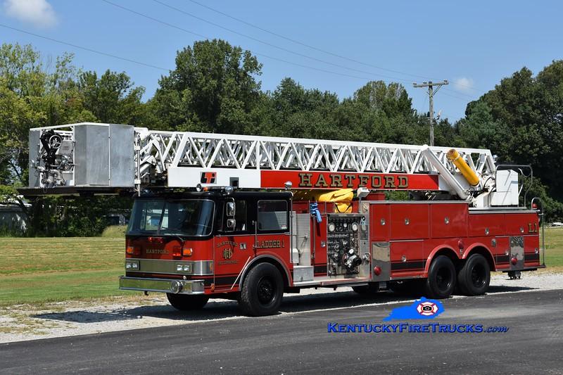 Hartford Ladder 1<br /> x-Greenville, OH<br /> 1984 Pierce Arrow/LTI 1500/200/100'<br /> Greg Stapleton photo
