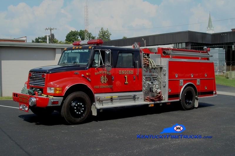<center> Hartford  Engine 1 <br> 1999 International 4900/KME 1250/1000 <br> Greg Stapleton photo <br> </center>