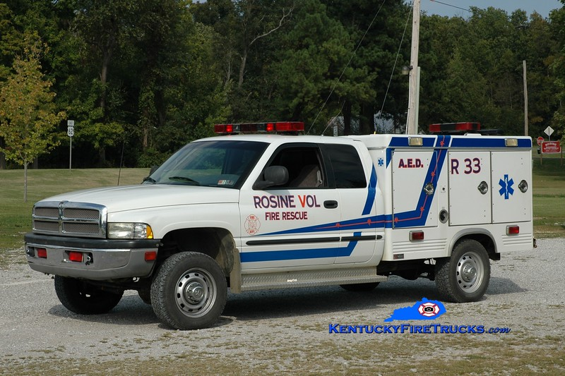 <center> Rosine  Rescue 33 <br> 1998 Dodge 2500 4x4/Swab  <br> Greg Stapleton photo </center>