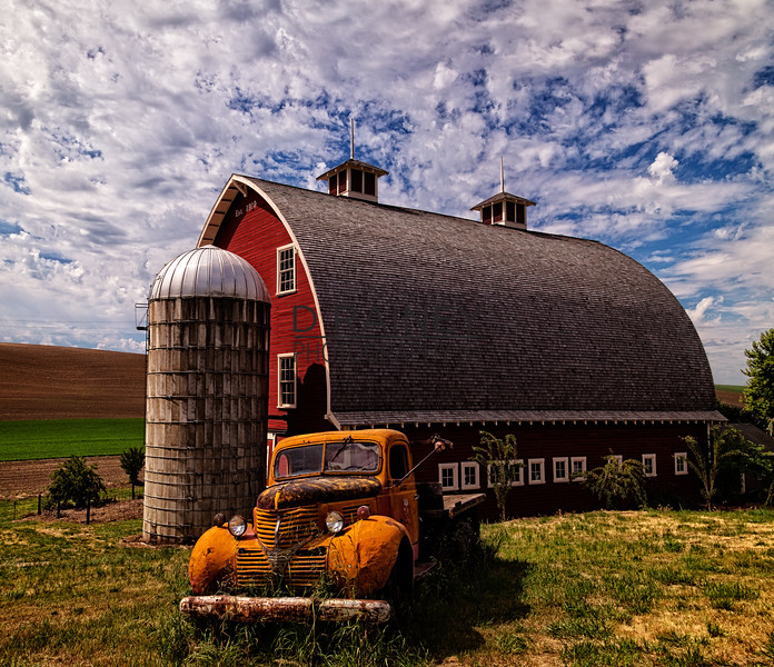 Red Barn and Orange Truck, Washington State