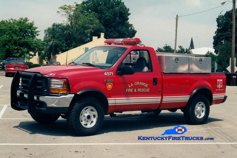 <center> RETIRED <br> La Grange  Brush 4571  <br> 1998 Ford F-350 4x4/Darley 250/250 <br> Greg Stapleton photo </center>