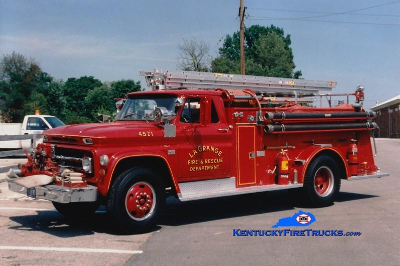<center> RETIRED <br> La Grange  Engine 4521  <br> 1966 Chevy/American 750/750 <br> Greg Stapleton photo </center>