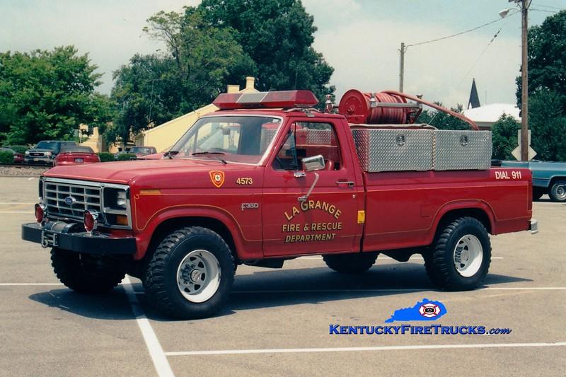 <center> RETIRED <br> La Grange  Brush 4573  <br> 1983 Ford F-350 4x4/Darley 150/200 <br> Greg Stapleton photo </center>