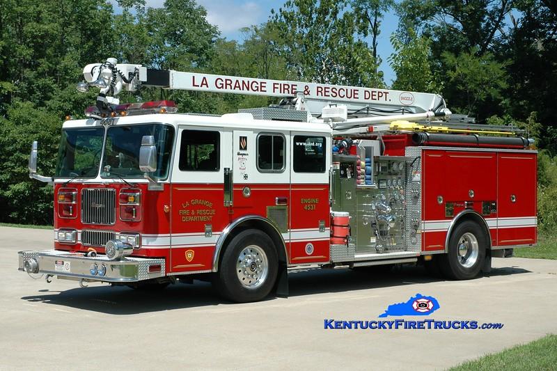 <center> La Grange  Engine 4531 <br> 2000 Seagrave Marauder 1500/700/30/20/52' Snozzle <br> Greg Stapleton photo </center>