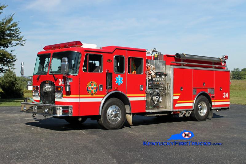 <center> RETIRED <br> North Oldham  Engine 1434 <br> 1998 KME Excel 1250/1000/25/25 <br> Kent Parrish photo </center>