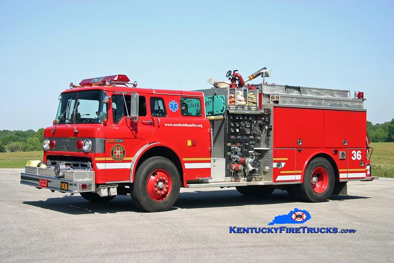 <center> RETIRED <br> North Oldham  Engine 1436 <br> 1990 Ford C-8000/Grumman 1250/1000 <br> Kent Parrish photo </center>