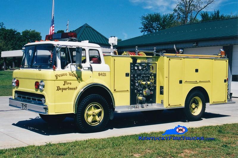RETIRED<br /> Pewee Valley  Engine 8421<br /> 1974 Ford C-750/Darley 750/500<br /> Greg Stapleton photo