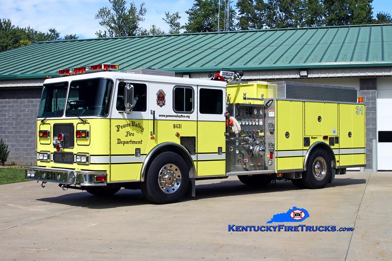<center> Pewee Valley  Engine 8431 <br> 2001 Seagrave Marauder 1250/750 <br> Kent Parrish photo </center>