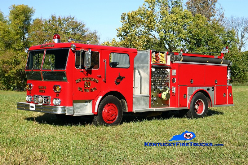 <center> While its original department is unknown, this rig last served New Manchester, WV.   It is now 1 of 5 rigs privately owned by a Lexington firefighter and apparatus buff, residing in Oldham County.   <br> <br>  x-New Manchester, WV <br> 1972 Ward LaFrance/1991 Allegheny refurb 1250/750 <br>  Kent Parrish photo </center>