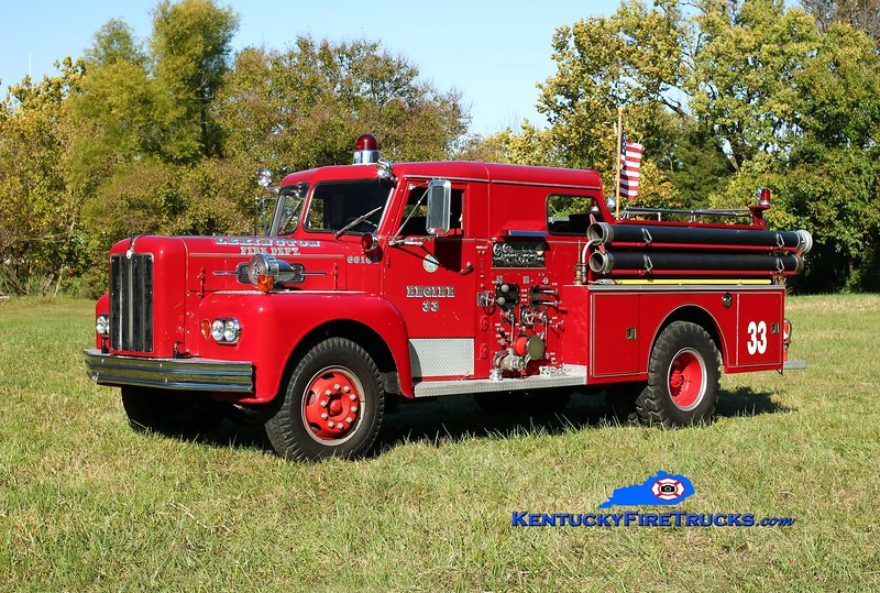 <center> This rig was originally Engine 10 in Lexington, KY and remains lettered as Reserve Engine 33.  It is now 1 of 5 rigs privately owned by a Lexington firefighter and apparatus buff, residing in Oldham County.   <br> <br>  x-Lexington, KY  <br> 1965 Maxim S 1000/200 <br>  Kent Parrish photo </center>
