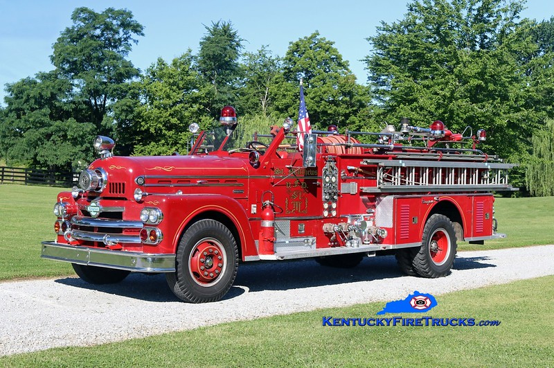 This rig was original to the St. Matthews Fire District in Louisville Metro/Jefferson County, KY.  It is now 1 of 6 rigs privately owned by a retired Fire Chief and apparatus buff, residing in Oldham County.  <br /> <br /> x-St. Matthews, KY<br /> 1963 Seagrave Anniversary 1250/300<br /> Kent Parrish photo