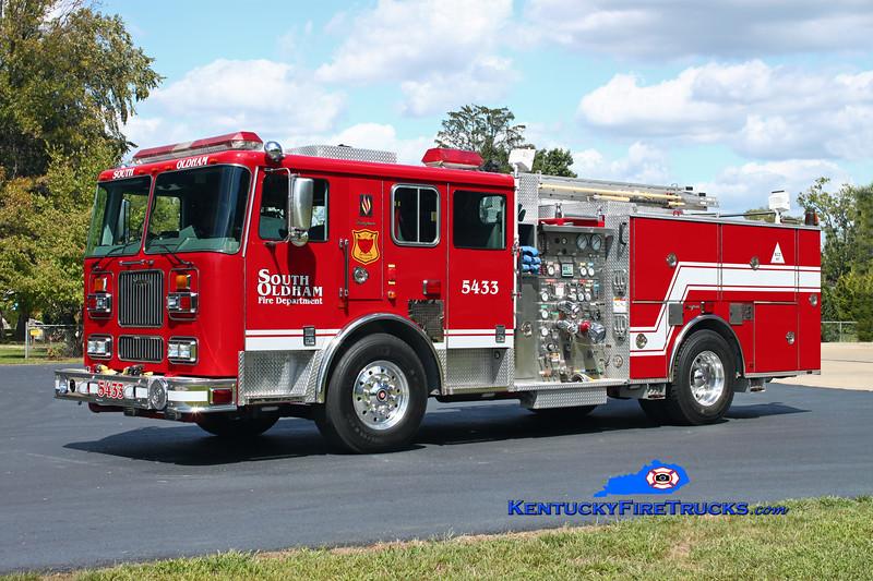 <center> South Oldham  Engine 5433 <br> x-Mountain View, CA <br> 2000 Seagrave Marauder 1500/500/20/20 <br> Kent Parrish photo </center>