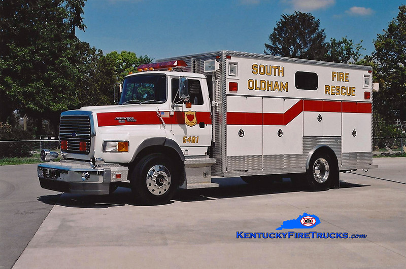 <center> RETIRED <br> South Oldham  Rescue 5481 <br> 1992 Ford LS8000/EVF <br> Kent Parrish photo </center>