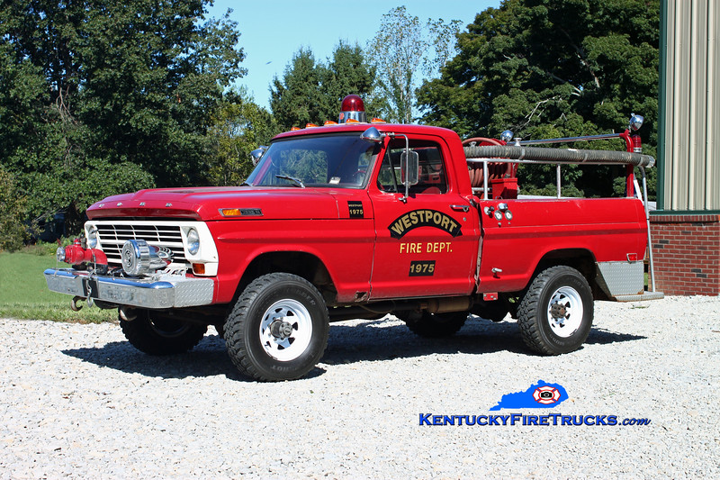 <center> RETIRED <br> Westport  Brush 1975 <br> x-South Oldham, KY  <br> 1969 Ford F-250 4x4/Sutphen 200/250 <br> Kent Parrish photo </center>