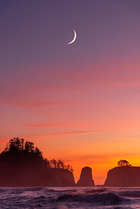 Ruby beach with the crescent moon