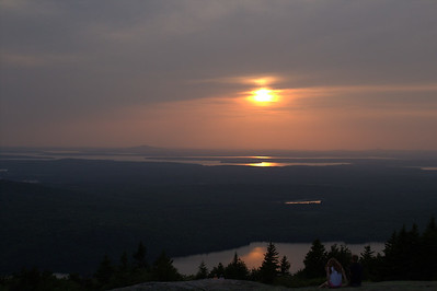 Blue Hill Overlook On Caddilac Mountain at Sunset