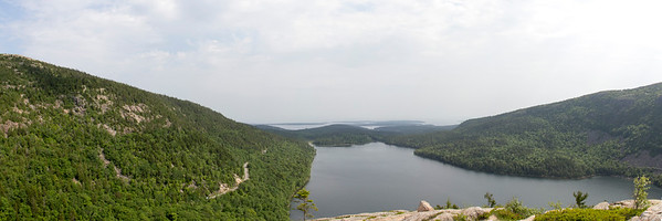 View of Jordan Pond + Atlantic Ocean From South Bubble