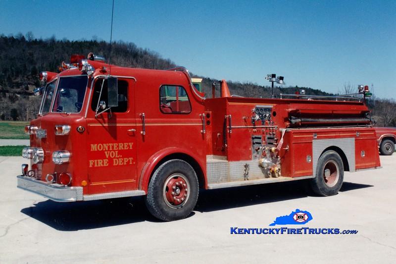 <center> RETIRED <BR> Monterey  Engine 1 <br> x-Anderson Twp, OH <br> 1963 Pirsch 1250/600 <br> Greg Stapleton photo </center>