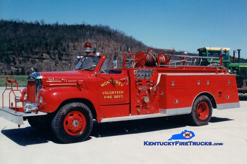 <center> RETIRED <BR> Monterey  Engine 2 <br> x-Louisville, KY <br> 1959 Mack B 1000/200 <br> Greg Stapleton photo </center>