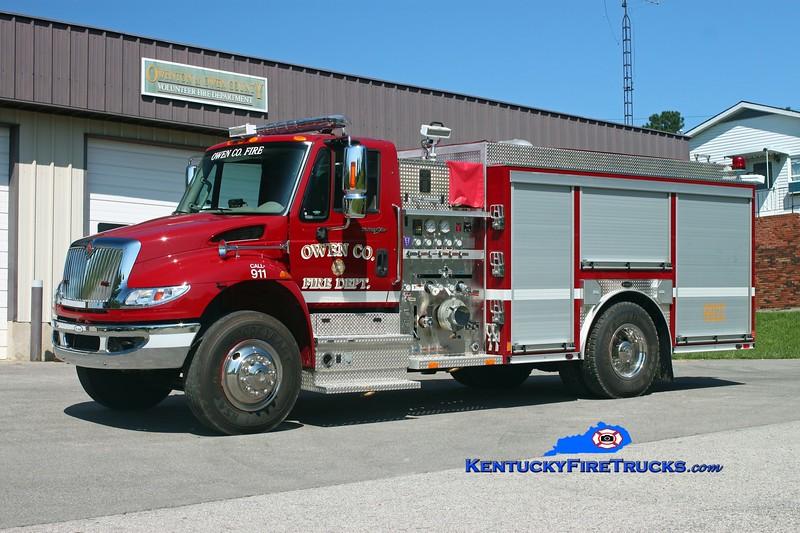 <center> Owen County  Engine 9922 <br> 2012 International 4400/E-One 1250/1000/30<br> Kent Parrish photo </center>