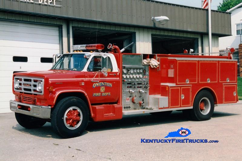 <center> RETIRED <BR> Owenton  Engine 2 <br> 1985 GMC/Boyer 1000/1000 <br> Greg Stapleton photo </center>