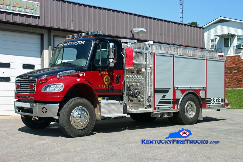 <center> Owenton  Engine 9823  <br> 2013 Freightliner M2-106/Spartan ERV 1250/750/30<br> Kent Parrish photo </center>