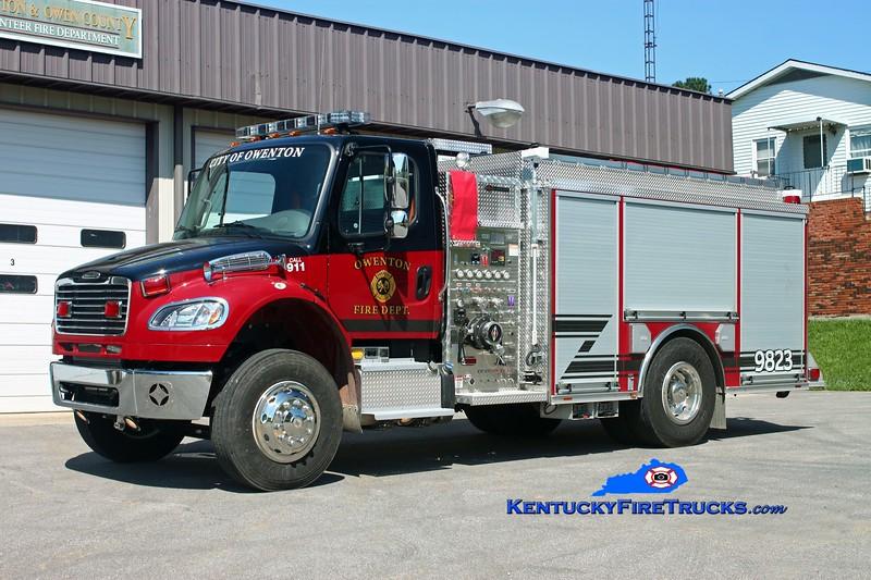 <center> Owenton  Engine 9823  <br> 2013 Freightliner M2-106/Spartan ERV 1250/750/30<br> Kent Parrish photo </center>