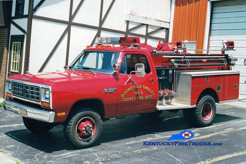 <center> Booneville-Owsley County  Engine 3  <br> 1982 Dodge Ram 4x4/Pierce 300/250 <br> Greg Stapleton photo </center>