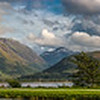 Panorama over the Caledonian Canal toward Ben Nevis
