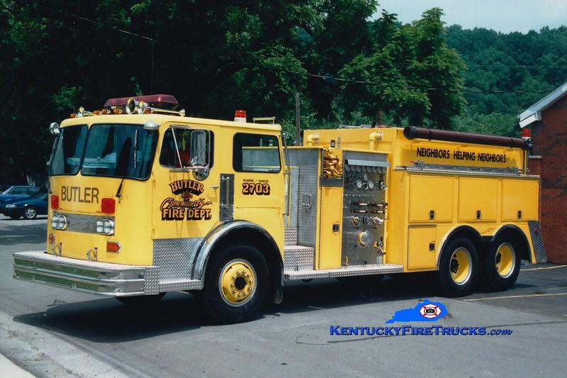 <center> RETIRED <br> Butler  Pumper-Tanker 2703  <br> x-Providence, RI <br> 1981 Hendrickson/Continental 1250/2000 <br> Greg Stapleton photo </center>