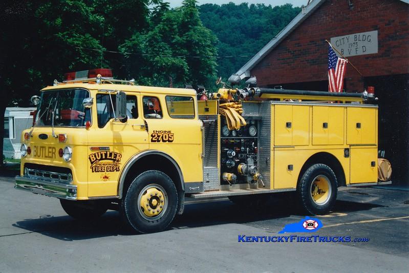 <center> RETIRED <br> Butler  Engine 2705 <br> 1977 Ford C/Pierce 1000/750 <br> Greg Stapleton photo </center>