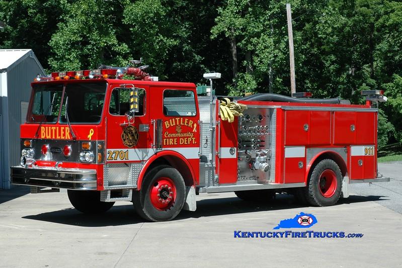 <center> Falmouth  Engine 2701 <br> x-Purdue University, IN; Butler, KY <br> 1982 Spartan/E-One 1500/750  <br> Greg Stapleton photo </center>
