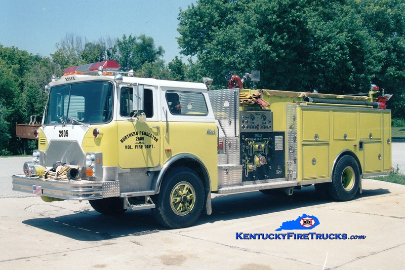 <center> RETIRED <br> Northern Pendleton Engine 2805 <br> x-Indian River, DE  <br> 1990 Mack CF/Darley 1000/1200 <br> Greg Stapleton photo </center>