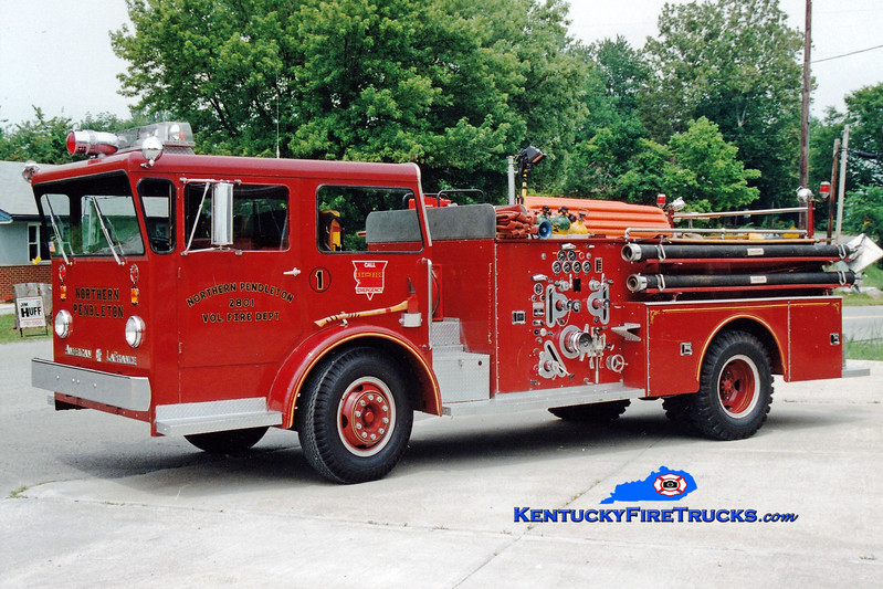 <center> RETIRED <br> Northern Pendleton Engine 2801 <br> x-Woodlawn, KY <br> 1966 American LaFrance Pioneer 750/500 <br> Greg Stapleton photo </center>