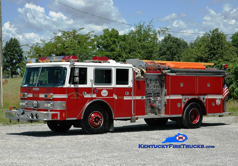 <center> Northern Pendleton Engine 2803 <br> x-Okolona, KY; Kenton, KY <br>  1989 Pierce Arrow/1984 E-One 1500/750 <br> Greg Stapleton photo </center>