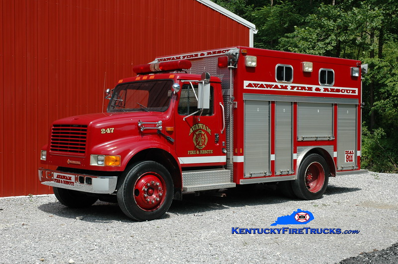 <center> Avawam  Rescue 247 <br> x-Knoxville, TN <br> 1991 International 4900/E-One <br> Greg Stapleton photo </center>