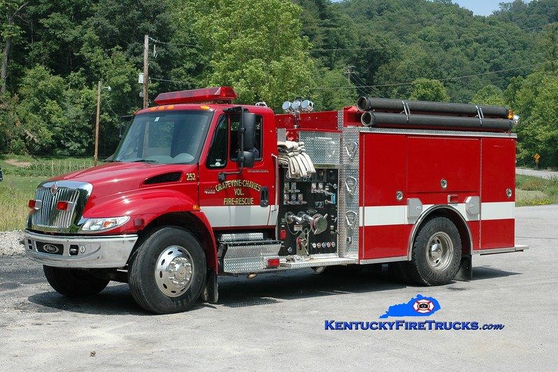 <center> Grapevine-Chavies Engine 252 <br> 2001 International 4400/Pierce 1250/1000 <br> Greg Stapleton photo </center>