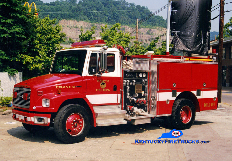 <center> Hazard Engine 2 <br> 1995 Freightliner FL70/Pierce 1500/500 <br> Greg Stapleton photo </center>