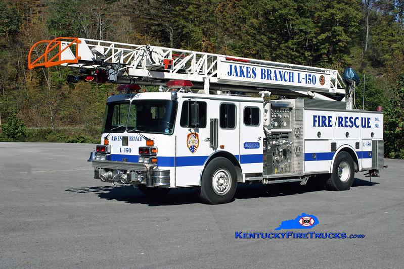 <center> Jakes Branch  Ladder 150 <br> x-St. Louis, MO; Springtown, PA <br> 1987 KME/LTI 1500/400/75' <br> Kent Parrish photo </center>