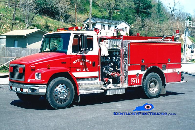 <center> RETIRED <br> Jakes Branch  Engine 153 <br> 1996 Freightliner FL80/Pierce 1250/750 <br> Greg Stapleton photo </center>
