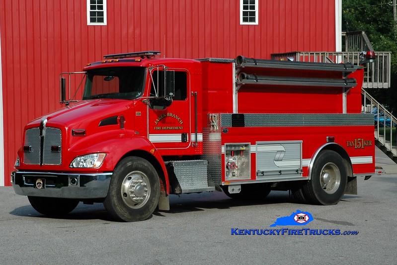 <center> Jakes Branch  Tanker 151 <br> 2010 Kenworth T-300/Wynn 500/2000 <br> Greg Stapleton photo </center>