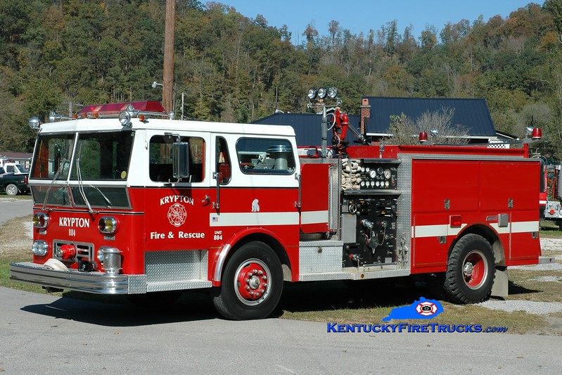 <center> Krypton  Engine 804 <br> x-Harrrison Twp, OH   <br> 1978 Ward LaFrance Ambassador/1992 Summit 1000/750   <br> Greg Stapleton photo </center>