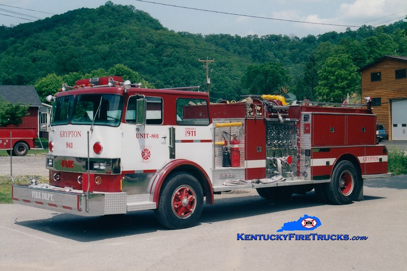 <center> RETIRED <br> Krypton  Engine 801 <br> x-Hebertsville, NJ <br> 1977 Hendrickson/FMC-Bean 1000/750  <br> Greg Stapleton photo </center>