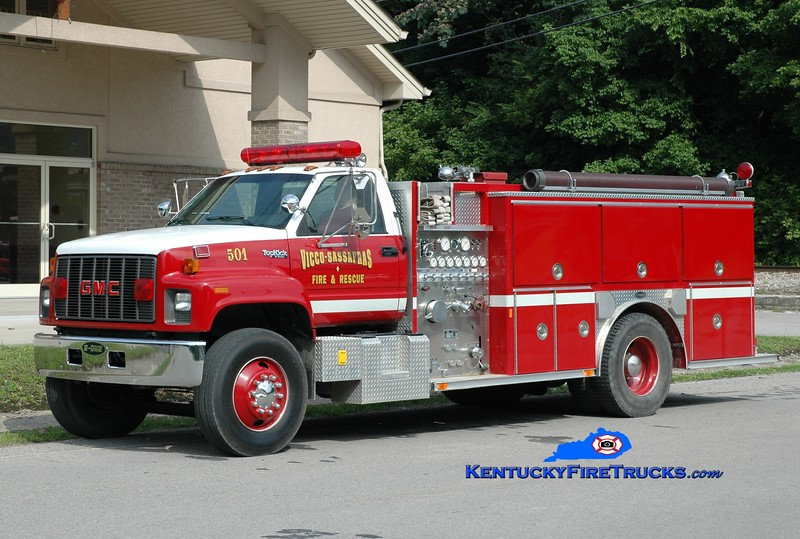 <center> Vicco-Sassafras  Engine 501 <br> 1994 GMC TopKick/E-One 1250/1000 <br> Greg Stapleton photo </center>