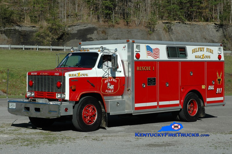 Belfry  Rescue 1<br /> x-Tyrone, PA<br /> 1985 GMC/Saulsbury<br /> Greg Stapleton photo