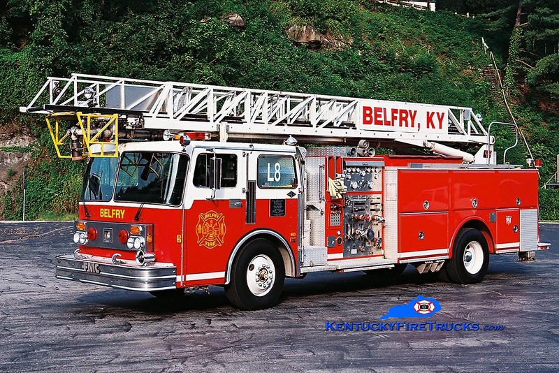<center> RETIRED <br> Belfry  Ladder 8 <br> x-Peachtree City, GA <br> 1983 Spartan/FMC/LTI  1500/300/75' <br> Greg Stapleton photo </center>