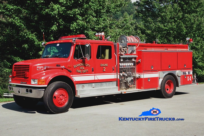 <center> Elkhorn City  Engine 2  <br> 1994 International 4900/Alllegheny 1250/1000 <br> Greg Stapleton photo </center>