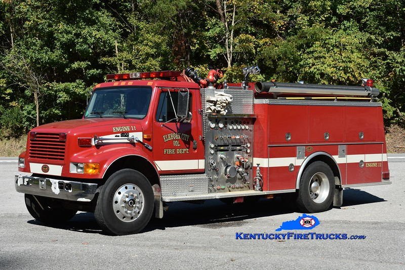 Elkhorn City Engine 11<br /> x-Ferrell's Creek, KY<br /> 1998 International 4900/KME 1250/1000<br /> Greg Stapleton photo